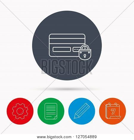 Blocked credit card icon. Shopping sign. Calendar, cogwheel, document file and pencil icons.