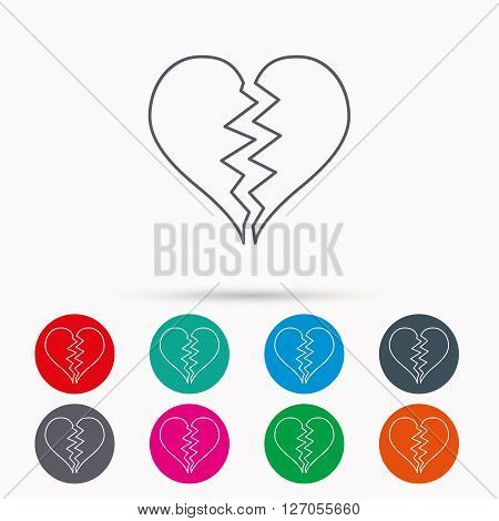Broken heart icon. Divorce sign. End of love symbol. Linear icons in circles on white background.
