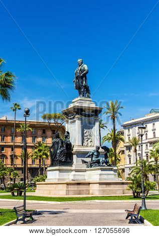 Monument to Cavour on the square of its name in Rome, Italy