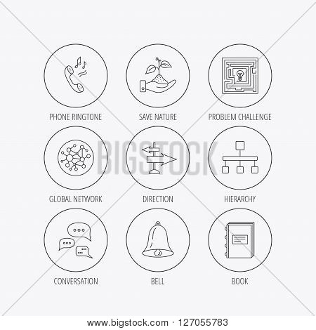 Conversation, global network and direction icons. Save nature, maze and book linear signs. Bell and phone ringtone flat line icons. Linear colored in circle edge icons.