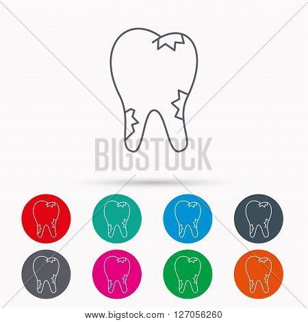 Caries icon. Tooth health sign. Linear icons in circles on white background.