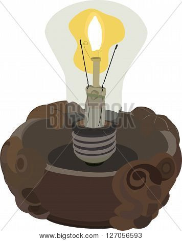 The bulb in the candlestick with a flame inside