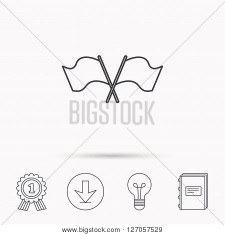 Crosswise waving flag icon. Location pointer sign. Download arrow, lamp, learn book and award medal icons.
