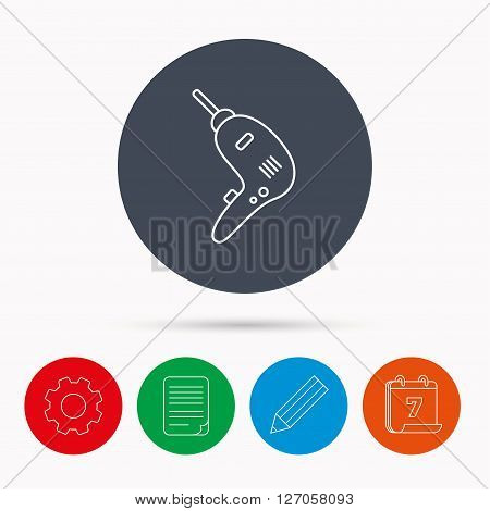 Drill tool icon. Electric jack-hammer sign. Calendar, cogwheel, document file and pencil icons.