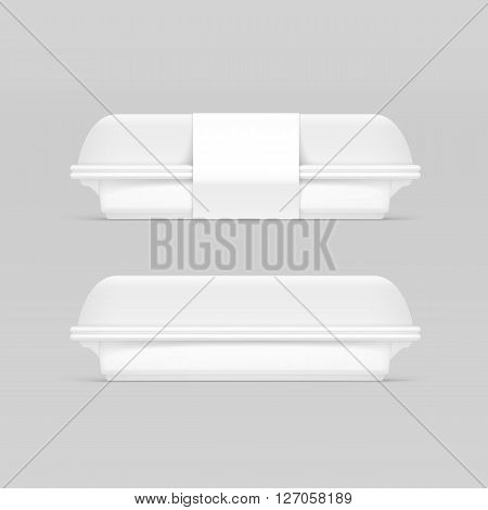 Vector White Fast Food Box Container Packaging Package Packing Pack Isolated on Background