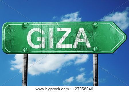 giza road sign, on a blue sky background