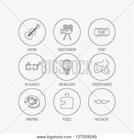 Puzzle, guitar music and theater masks icons. Ticket, video camera and 3d glasses linear signs. Entertainment, painting and mustache icons. Linear colored in circle edge icons.