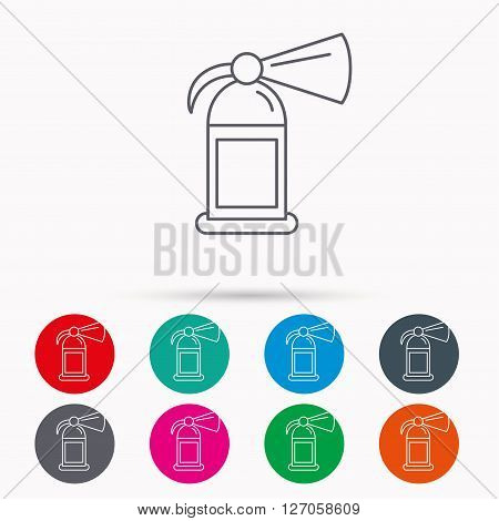 Fire extinguisher icon. Flame protection sign. Linear icons in circles on white background.