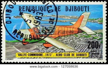 MOSCOW RUSSIA - APRIL 21 2016: A stamp printed in Djibouti shows French light aircraft Morane Saulnier Rallye Commodore series