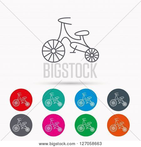 Bike icon. Kids run-bike sign. First bike transport symbol. Linear icons in circles on white background.
