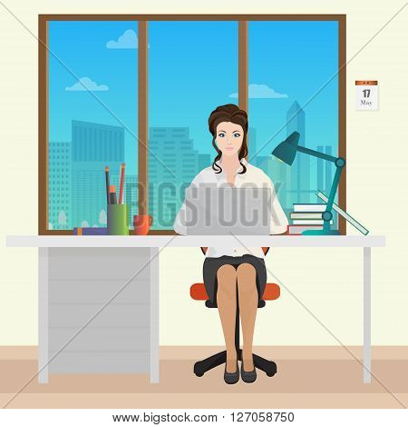 Woman Secretary office manager in office interior. Businesswoman person working on laptop