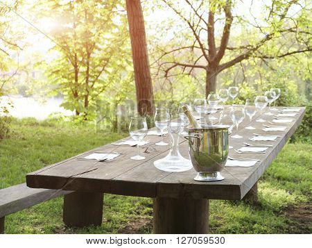 Outdoor restaurant during beautiful sunset in summertime ** Note: Visible grain at 100%, best at smaller sizes