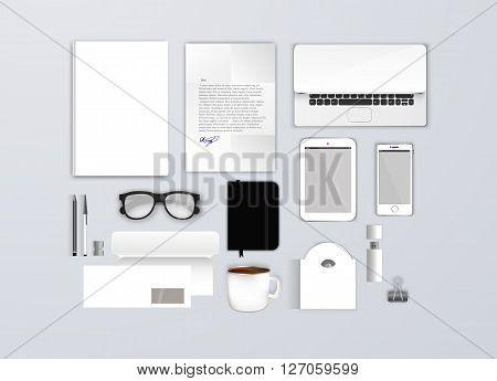 Empty Corporate identity template set. Business stationery mock-up for branding design. Letter envelope, card, catalog, pen, pencil, notebook, tablet pc, mobile phone, letterhead, brochure cover