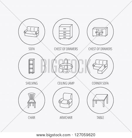 Corner sofa, table and armchair icons. Chair, ceiling lamp and chest of drawers linear signs. Shelving, furniture flat line icons. Linear colored in circle edge icons.