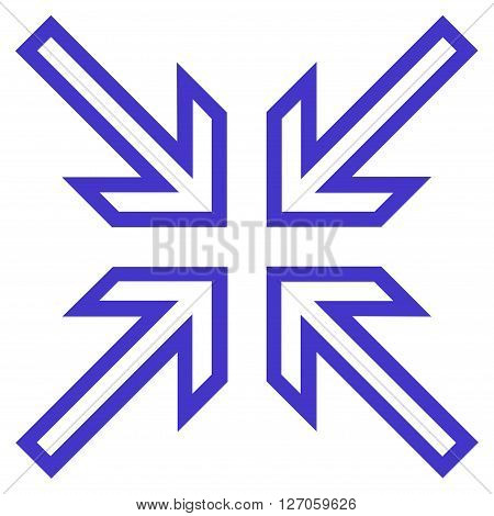 Implode Arrows vector icon. Style is outline icon symbol, violet color, white background.