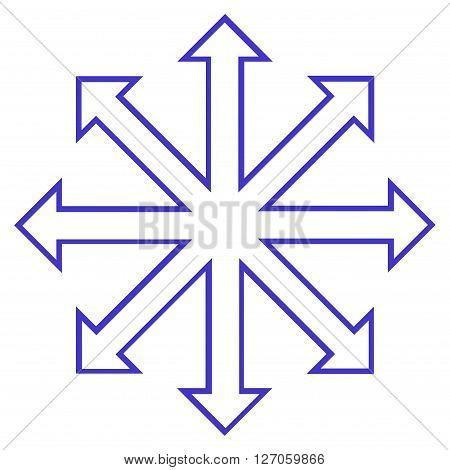 Maximize Arrows vector icon. Style is contour icon symbol, violet color, white background.