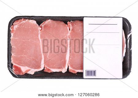 Packed pieces of pork meat, isolated on white