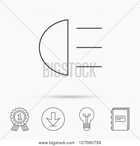 High beams icon. Distant light car sign. Download arrow, lamp, learn book and award medal icons.