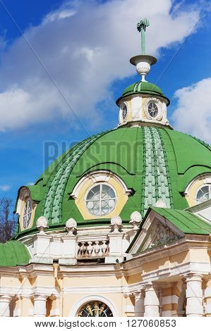 MOSCOW RUSSIA - April 17 2015: Roof of The Grotto in Kuskovo park by the architect F. Argunov. Kuskovo manor near Moscow.