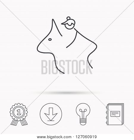 Horseback riding icon. Jockey rider sign. Horse sport symbol. Download arrow, lamp, learn book and award medal icons.