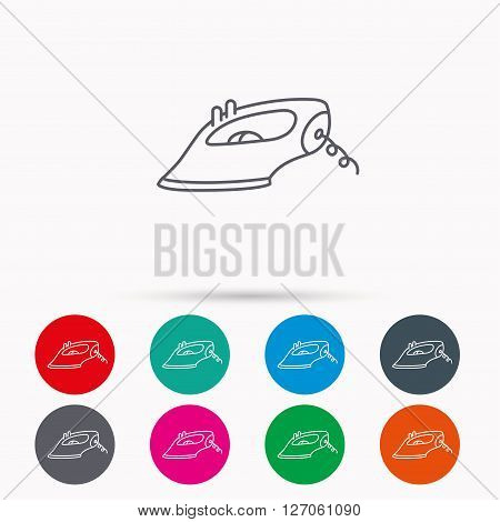 Iron icon. Ironing housework sign. Laundry service symbol. Linear icons in circles on white background.