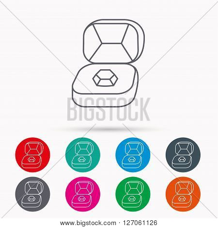 Brilliant jewellery icon. Engagement sign. Linear icons in circles on white background.