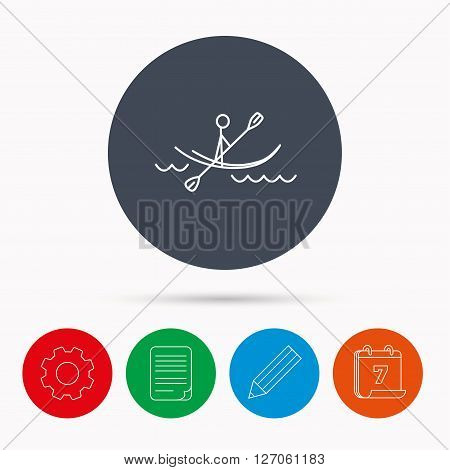 Kayaking on waves icon. Rafting or canoeing sign. Boating sport symbol. Calendar, cogwheel, document file and pencil icons.