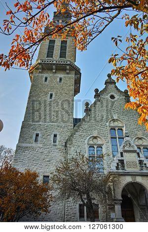 Autumn Landscape of St. Jacob church, Zurich, Switzerland