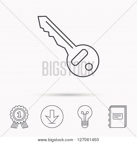 Key icon. Door unlock tool sign. Download arrow, lamp, learn book and award medal icons.