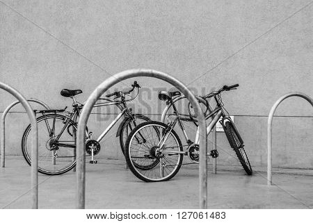 Bicycles on the parking lot for bicycles