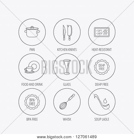 Kitchen knives, glass and pan icons. Food and drink, coffee cup and whisk linear signs. Soup ladle, heat-resistant and DEHP, BPA free icons. Linear colored in circle edge icons.