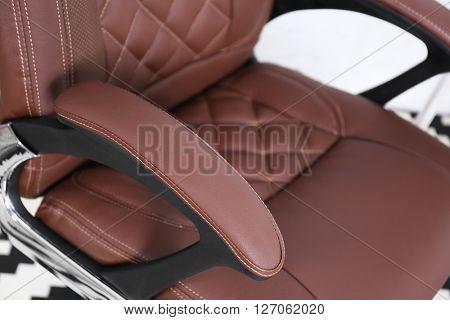 New brown office chair, closeup