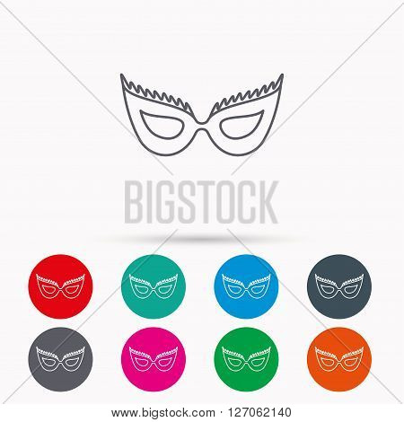 Festive mask icon. Masquerade carnival sign. Anonymous symbol. Linear icons in circles on white background.