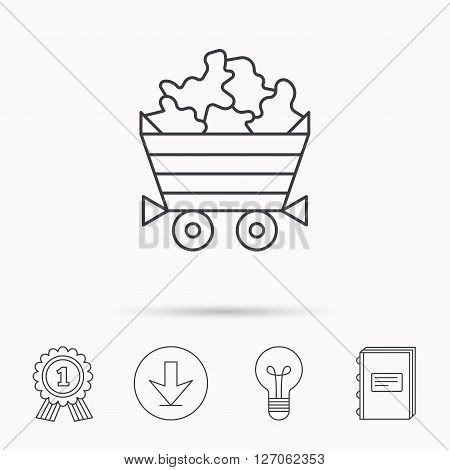 Minerals icon. Wheelbarrow with jewel gemstones sign. Download arrow, lamp, learn book and award medal icons.