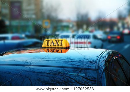 Taxi car on street