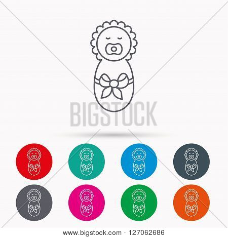 Newborn baby icon. Toddler with bow sign. Child wrapped in blanket symbol. Linear icons in circles on white background.
