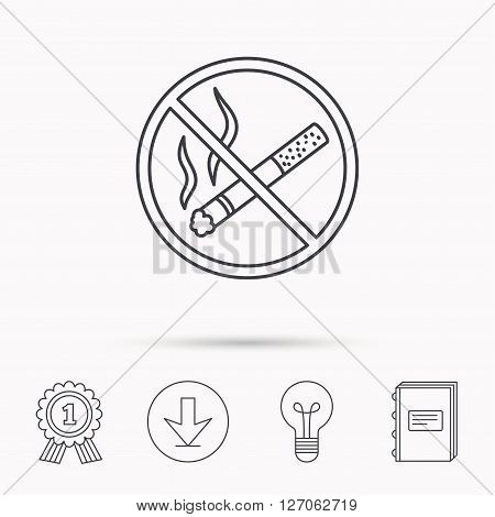 No smoking icon. Stop smoke sign. Download arrow, lamp, learn book and award medal icons.