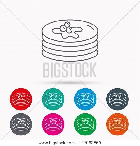 Pancakes icon. American breakfast sign. Food with maple syrup symbol. Linear icons in circles on white background.