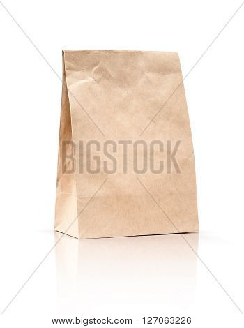 paper kraft shopping bag isolated on white background with clipping path