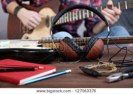 Man with guitar closeup