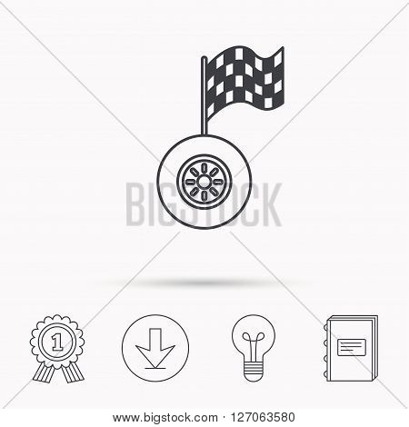 Race icon. Wheel with racing flag sign. Download arrow, lamp, learn book and award medal icons.