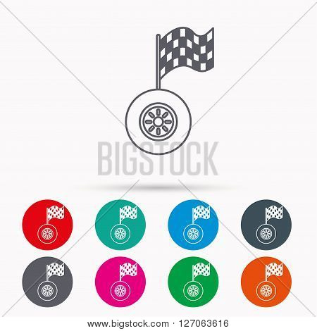 Race icon. Wheel with racing flag sign. Linear icons in circles on white background.