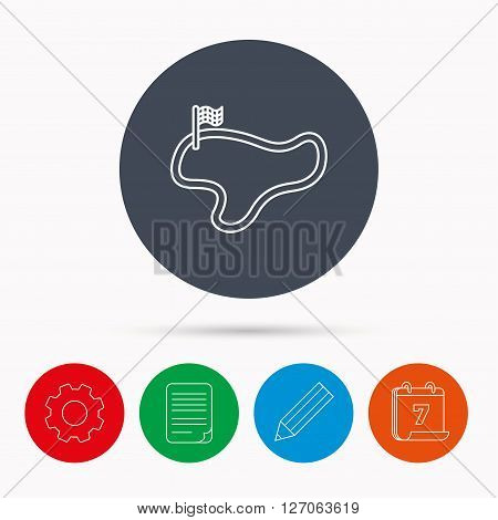 Race track or lap icon. Finish flag sign. Calendar, cogwheel, document file and pencil icons.