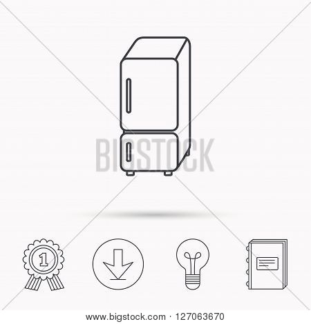 Refrigerator icon. Fridge sign. Download arrow, lamp, learn book and award medal icons.