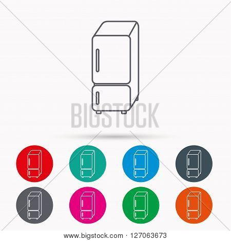 Refrigerator icon. Fridge sign. Linear icons in circles on white background.