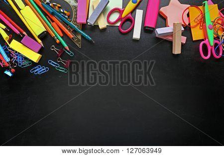 Frame of stationery on black background