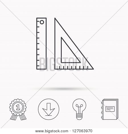 Triangular ruler icon. Geometric school supplies symbol. Download arrow, lamp, learn book and award medal icons.