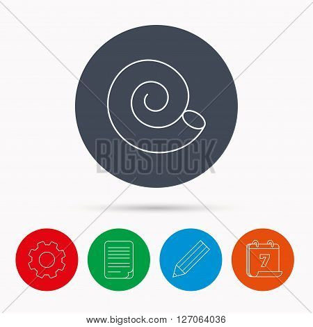 Sea shell icon. Spiral seashell sign. Mollusk shell symbol. Calendar, cogwheel, document file and pencil icons.