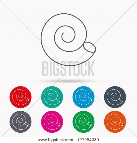 Sea shell icon. Spiral seashell sign. Mollusk shell symbol. Linear icons in circles on white background.