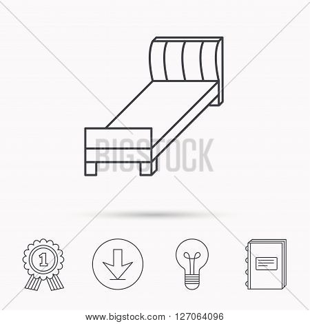 Single bed icon. Bedroom furniture sign. Download arrow, lamp, learn book and award medal icons.